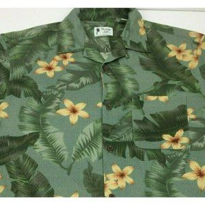Vintage Silk Hawaiian Shirt Palm Leaves Floral